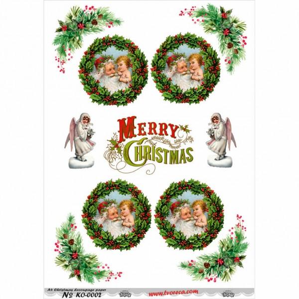 Оризова хартия за декупаж - A4 - Коледа 02