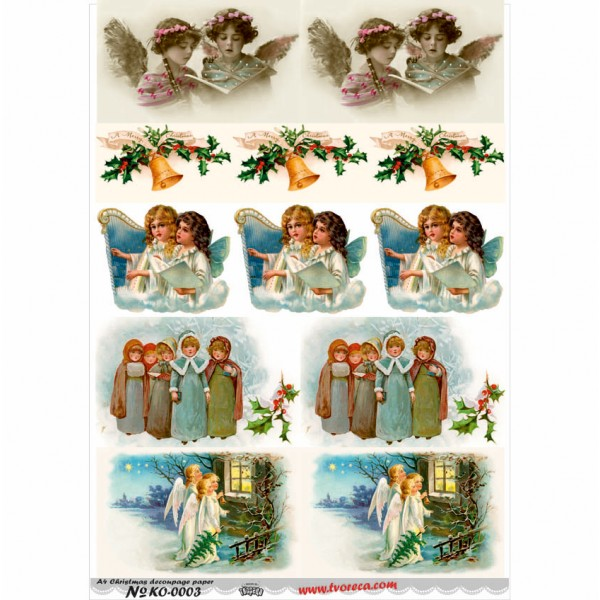 Оризова хартия за декупаж - A4 - Коледа 03