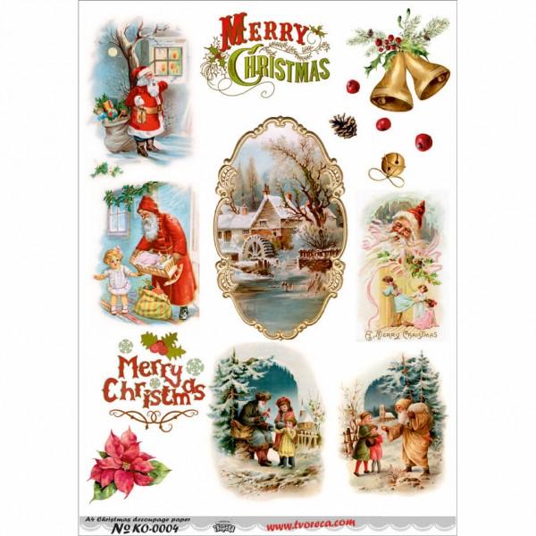 Оризова хартия за декупаж - A4 - Коледа 04
