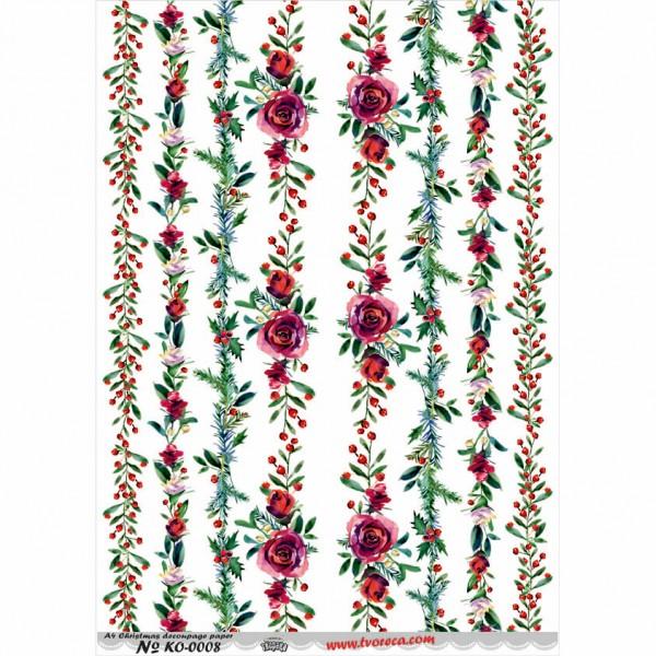 Оризова хартия за декупаж - A4 - Коледа 08