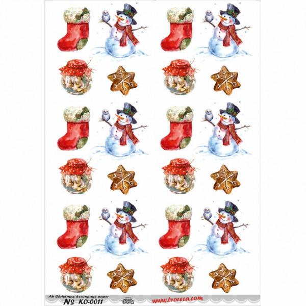 Оризова хартия за декупаж - A4 - Коледа 11