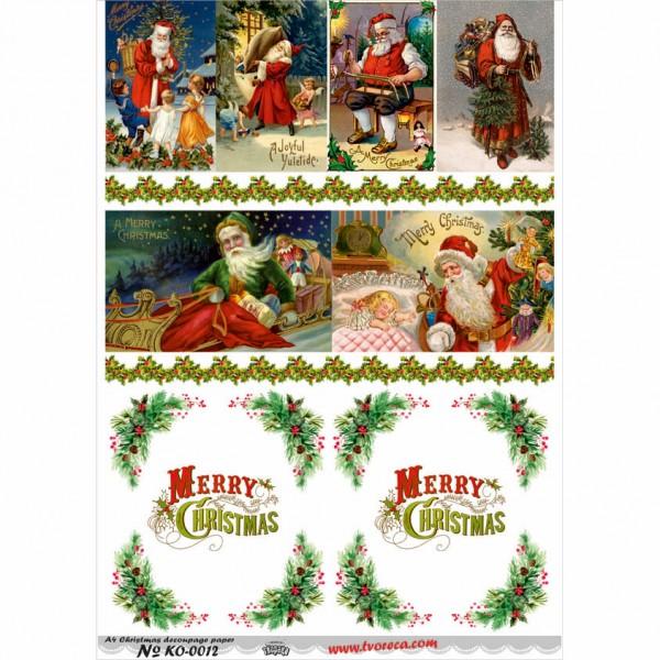 Оризова хартия за декупаж - A4 - Коледа 12
