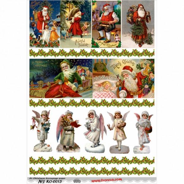 Оризова хартия за декупаж - A4 - Коледа 13