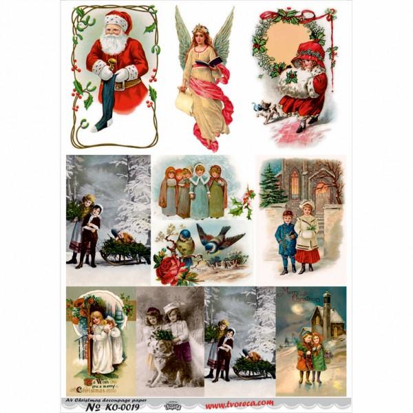 Оризова хартия за декупаж - A4 - Коледа 19