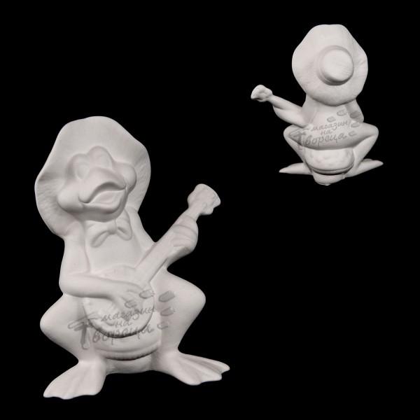 Керамична фигура - Жаба с китара