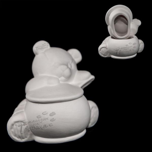 Керамична фигура - Мече с гърне (кутия)