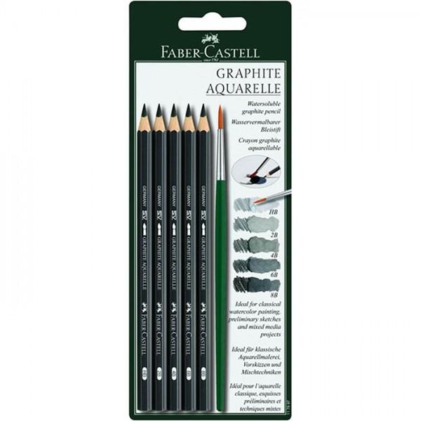 Графитни акварелни моливи 5бр + четка - Faber Castell