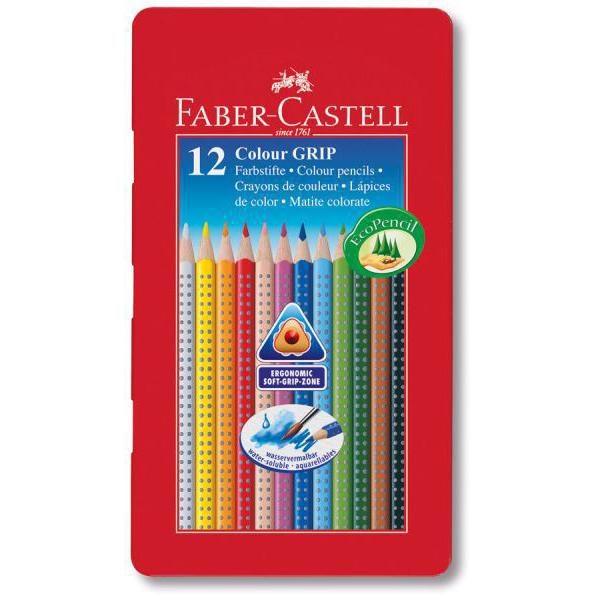 Акварелни моливи GRIP в метална кутия 12цв. Faber Castell