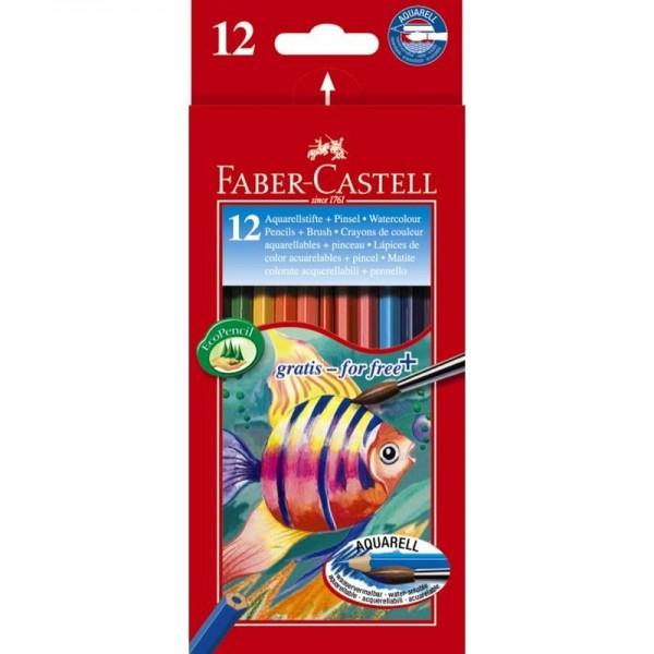 Акварелни моливи + четка 12цв. Faber Castell
