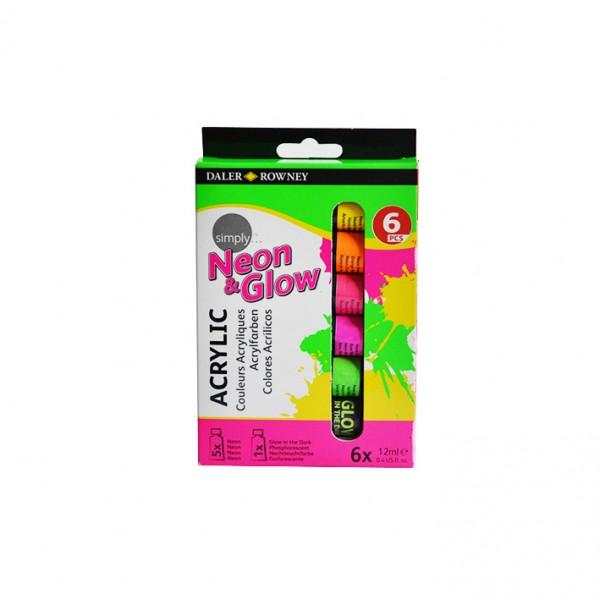 Daler Rowney акрил комплект Simply NEON 6 цвята по 12 ml