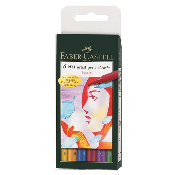 Маркер-четка комплект 6 PITT Artist Pens brush Basic - Faber Castell