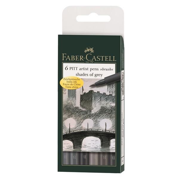 Маркер-четка комплект 6 PITT Artist Pens brush Shades of Grey - Faber Castell