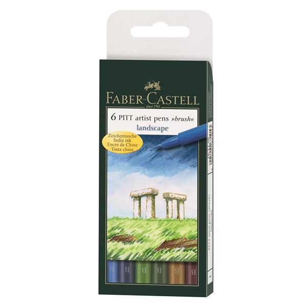 Маркер-четка комплект 6 PITT Artist Pens brush Landscape - Faber Castell
