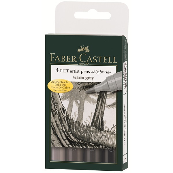 Маркер голяма четка комплект 4 PITT Artist Pens big brush warm grey - Faber Castell