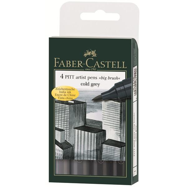 Маркер голяма четка комплект 4 PITT Artist Pens big brush cold grey - Faber Castell