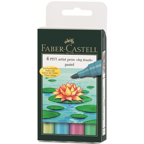 Маркер голяма четка комплект 4 PITT Artist Pens big brush pastel - Faber Castell