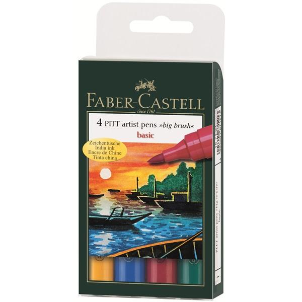 Маркер голяма четка комплект 4 PITT Artist Pens big brush basic - Faber Castell