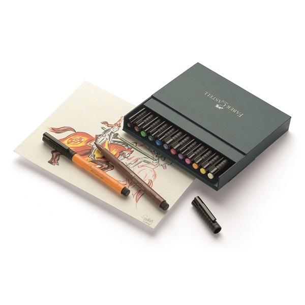 Маркер-четка комплект 12 цв. PITT Artist Pens brush Studio box - Faber Castell