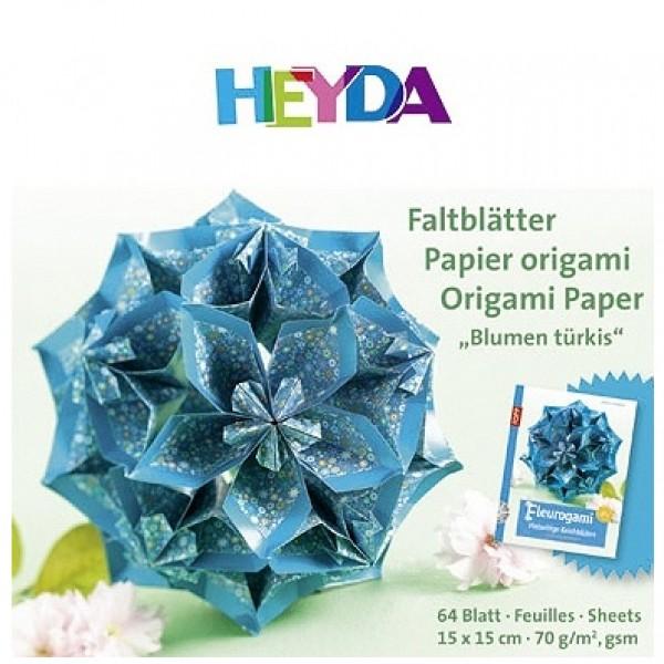 Heyda хартия Origami Цветя тюркоаз 75553, 15*15 cm