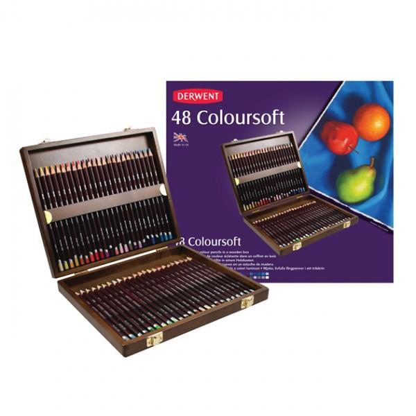 Derwent цветни моливи Coloursoft комплект 48 цвята, дървена кутия
