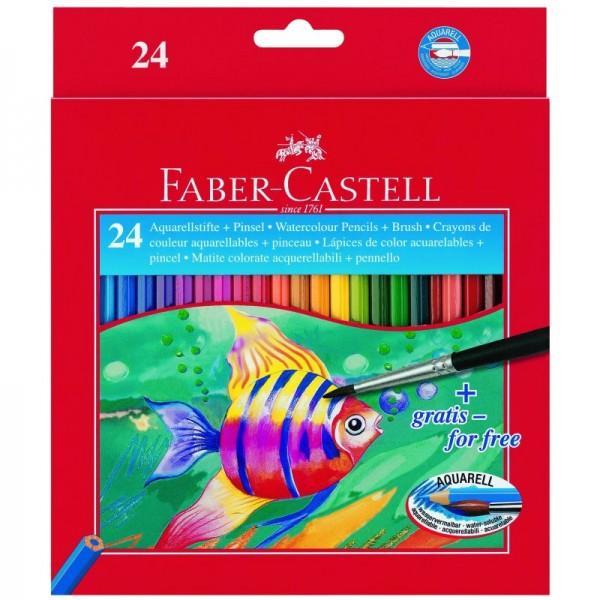 Акварелни моливи + четка 24цв. Faber Castell