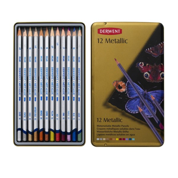 Derwent цветни моливи Metallic комплект 12 цв