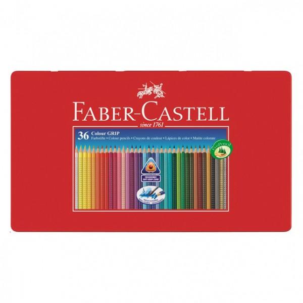Акварелни моливи GRIP в метална кутия 36цв. Faber Castell