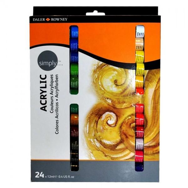 Daler Rowney акрил Simply комплект 24 цвята по 12 ml