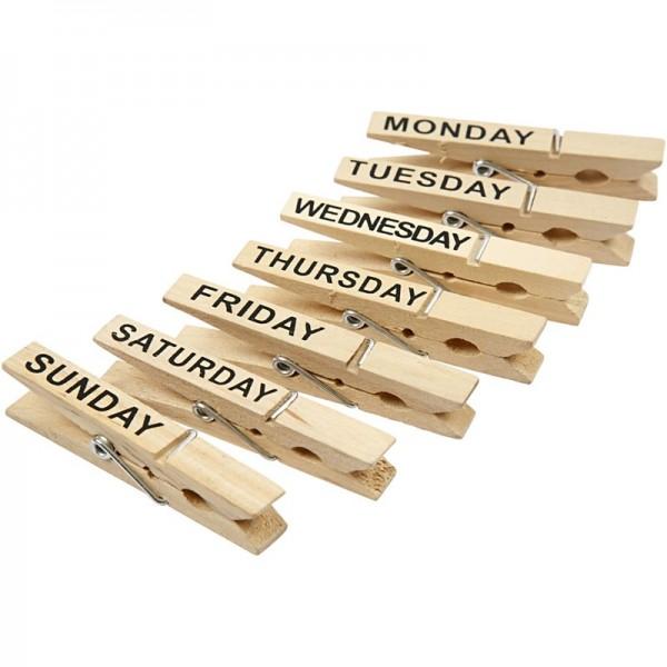 Creativ wood щипки Дни от седмицата, pack 7 бр