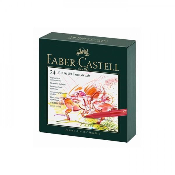 Маркер-четка комплект 24 цв. PITT Artist Pens brush Studio box - Faber Castell
