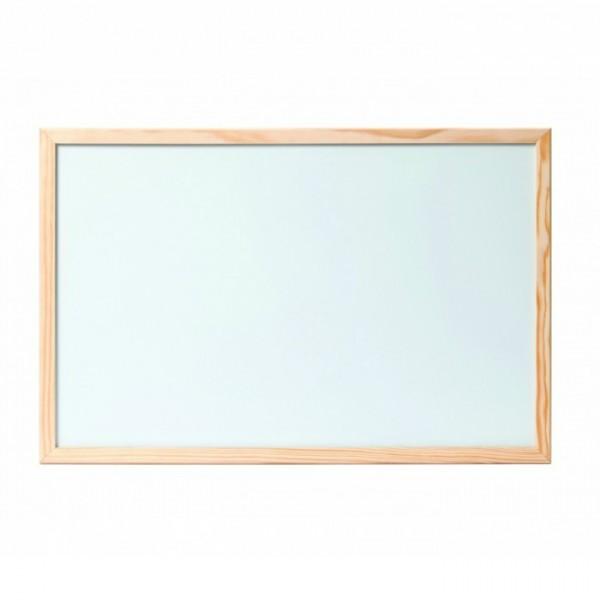 Бяла дъска с дървена рамка магнитна - 60x90см