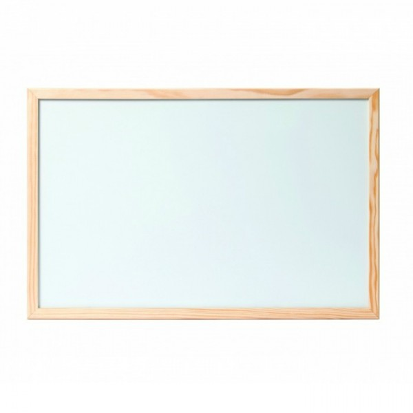 Бяла дъска с дървена рамка обикновена - 60x90см