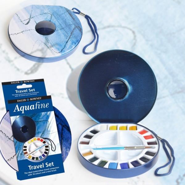 Daler Rowney акварел Aquafine комплект Travel, 18 half pan+четка