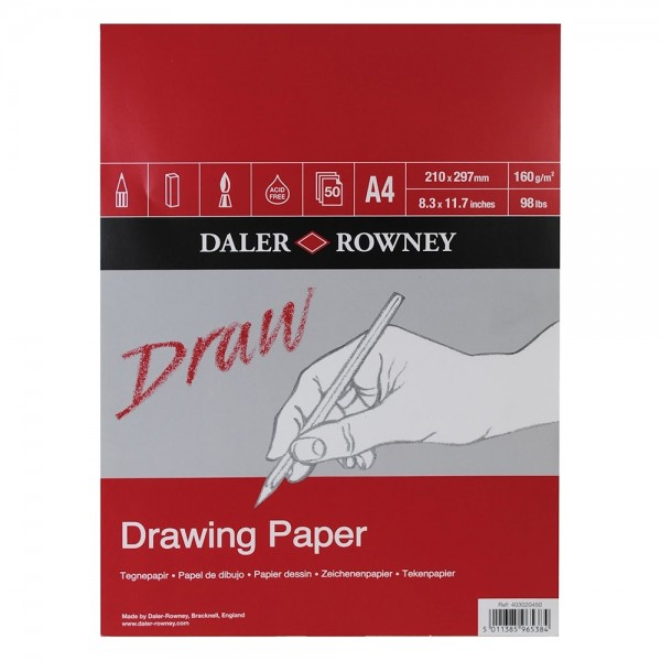 Daler Rowney скицник Draw A4 160g, 50 л