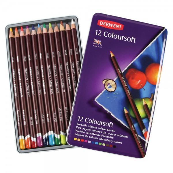 Derwent цветни моливи Coloursoft комплект 12 цвята