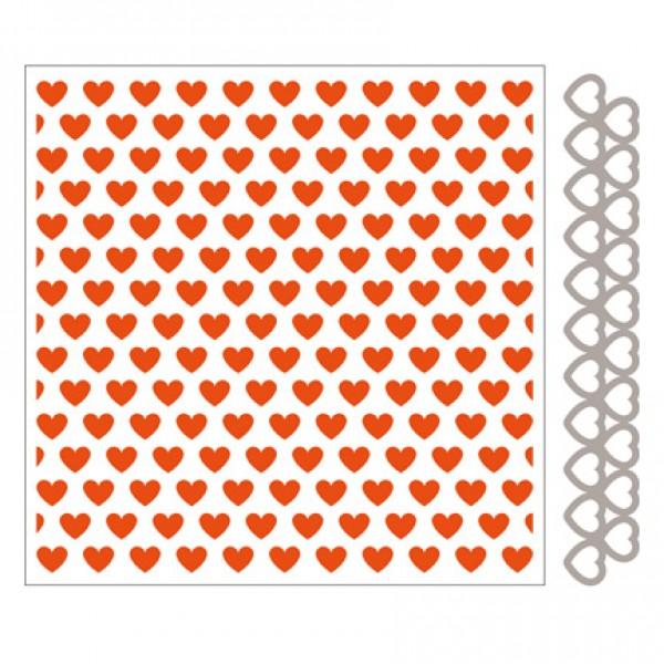 Папка за релеф 14.5x14.5cm в комплект със щанца - Marianne design - Hearts