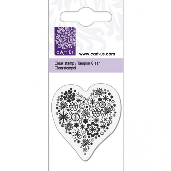 KPC печат силиконов 1071, сърце с цветя, 5х6 cm