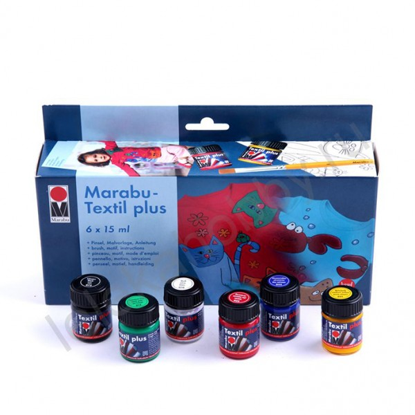 Marabu комплект Textil Plus 6 цв 15 ml + четка