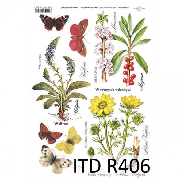 Оризова хартия за декупаж - A4 25gr - ITD Collection R406