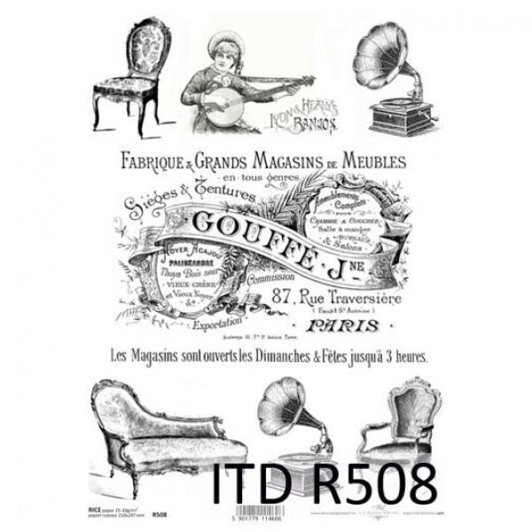 Оризова хартия за декупаж - A4 25gr - ITD Collection R508