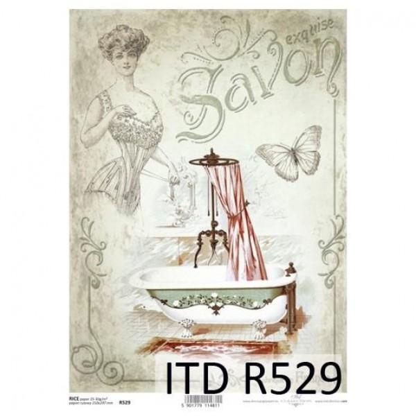 Оризова хартия за декупаж - A4 25gr - ITD Collection R529