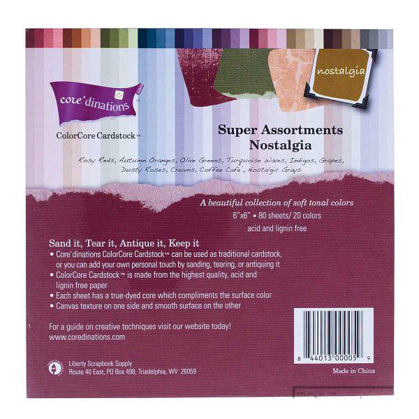 Super Assortments 6x6 - Nostalgia - структурни картони 80 листа - 20 цвята