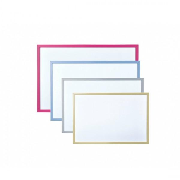 Бяла дъска с цветна рамка обикновена - 60x90см
