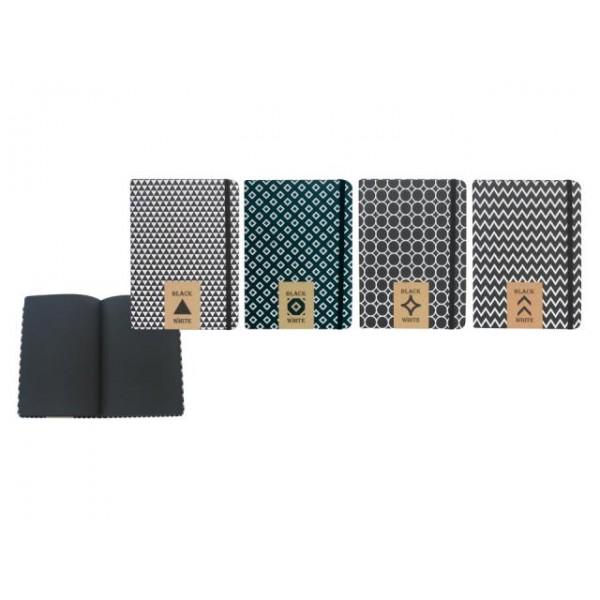 Бележник 14х20 Black&White с ластик, 120 черни листа