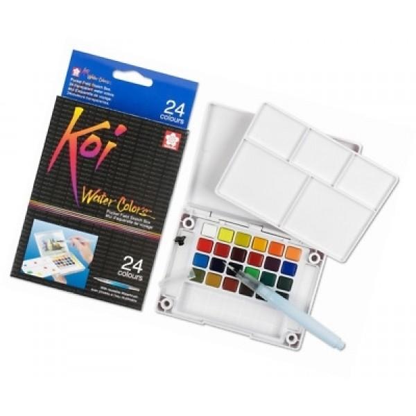 акварелна боя комплект Сакура Кой Пленер 24 цвята, с четка