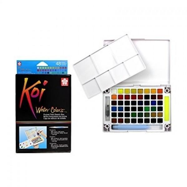 акварелна боя комплект Сакура Кой Пленер 48 цвята, с четка