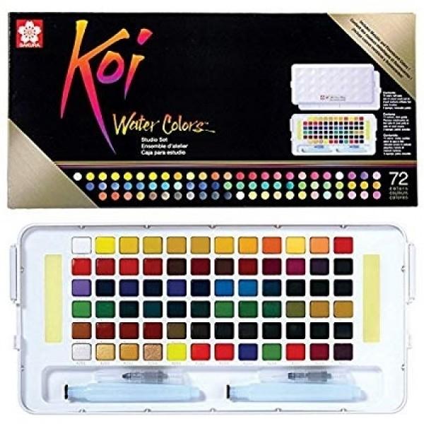акварелна боя комплект Сакура Кой Пленер 72 цвята, с четка