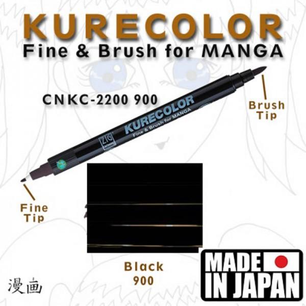 MANGA FINE & BRUSH - Професионален двувърх гъвкав четка маркер ЧЕРЕН