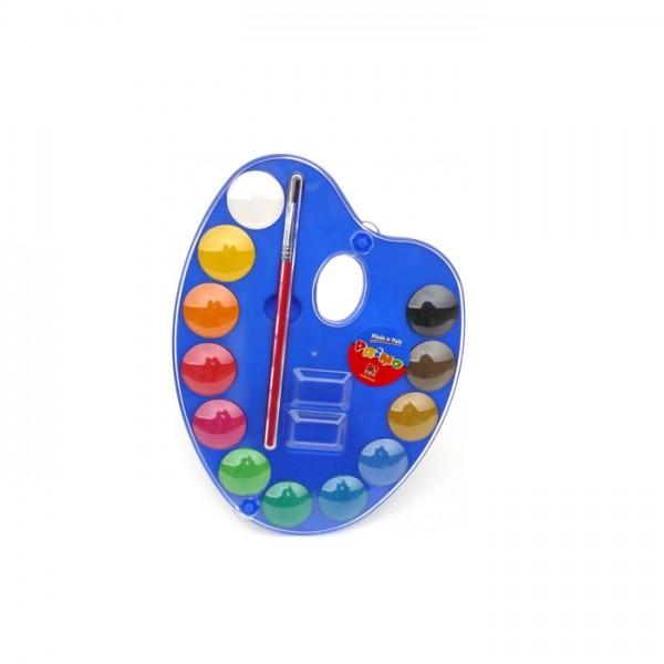 Акварелни бои Primo 12 цвята, 18х14см + Палитра и 1 четкa