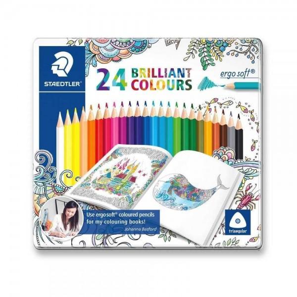 Цветни моливи 24цв. Staedtler Ergo Soft метална кутия